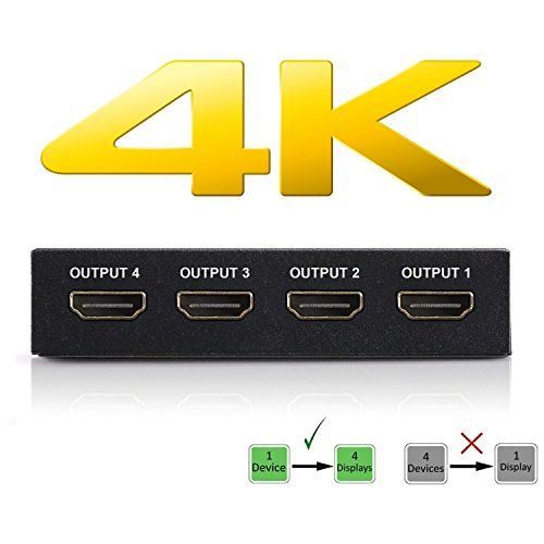 4K HDMI Splitter – 1 Input Device to 4 Displays – Save Money by Ditching Extra Cable Boxes - Powerful Signal Transfer Up to 65ft – Record & Stream Games from PS4, XBOX ONE & more #HDMI #Splitter #Input #Device #Displays #Save #Money #Ditching #Extra #Cable #Boxes #Powerful #Signal #Transfer #Record #Stream #Games #from #XBOX #more
