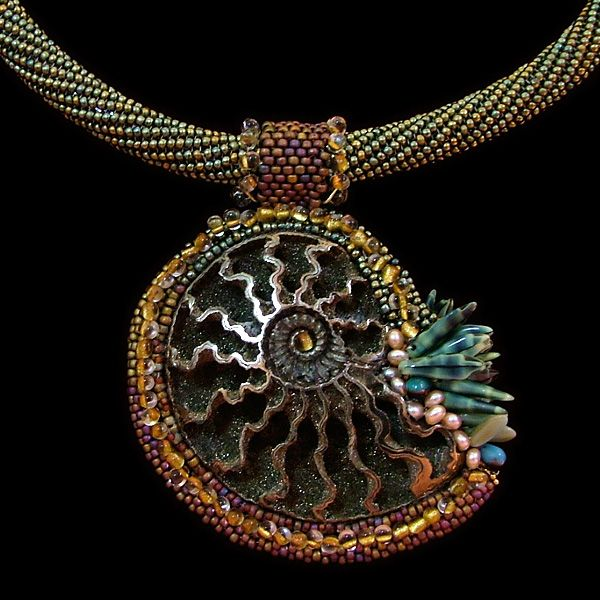 360 best ammonite jewelry images on pinterest ammonite beaded beaded ammonite necklace by ruth cardin aloadofball Images