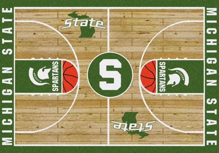"michigan state university basketball | 9242 : "" Michigan State College Basketball Court - 7'8"""" x 10'9"""" """