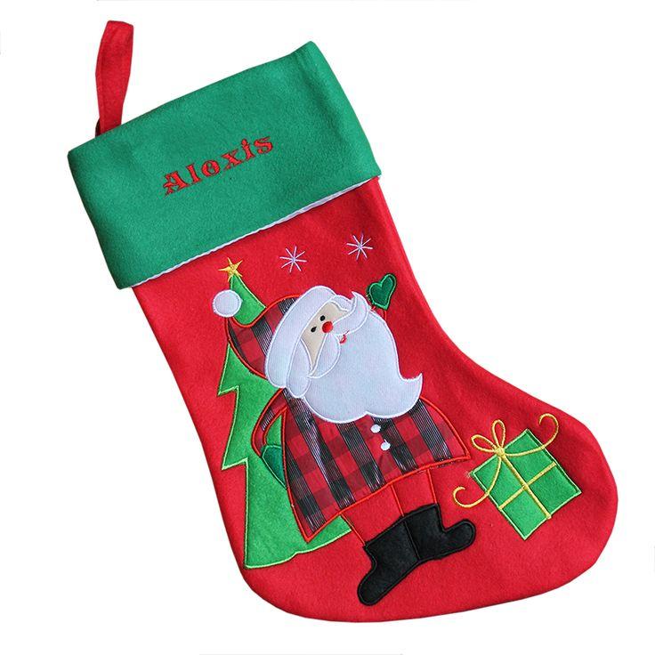 Chaussette de Noël brodée en feutrine épaisse: une idée originale pour un cadeau d'anniversaire, un cadeau de noël, la fête des pères, la fête des mères ou tout autre événement. Chaussette de Noël brodée en feutrine épaisse! une idée de cadeau qui comblera vos proches!
