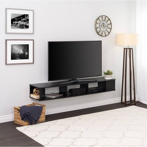 70 Wall Mounted Tv Stand Black Prepac Living Room Tv Tv Rack