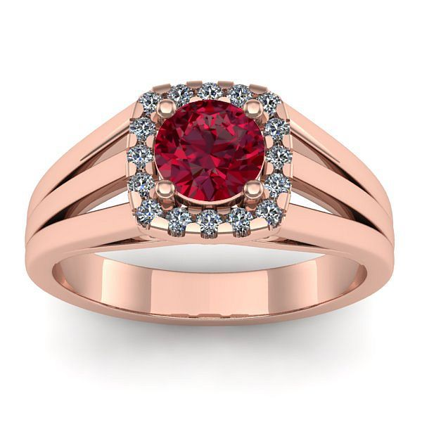 Inel logodna L160RRB din aur roz cu rubin si diamante