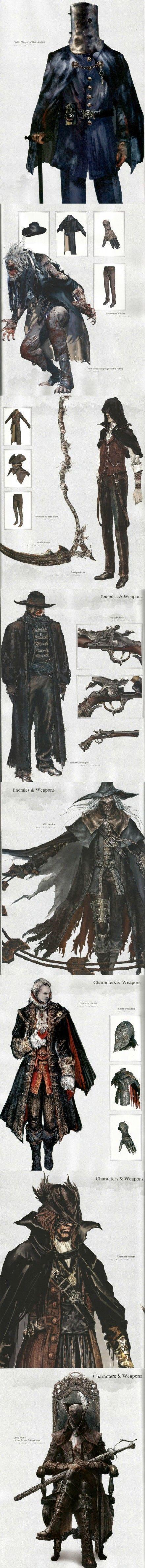 Bloodbourne《血源:老猎人》官方攻略中的原画设计图: