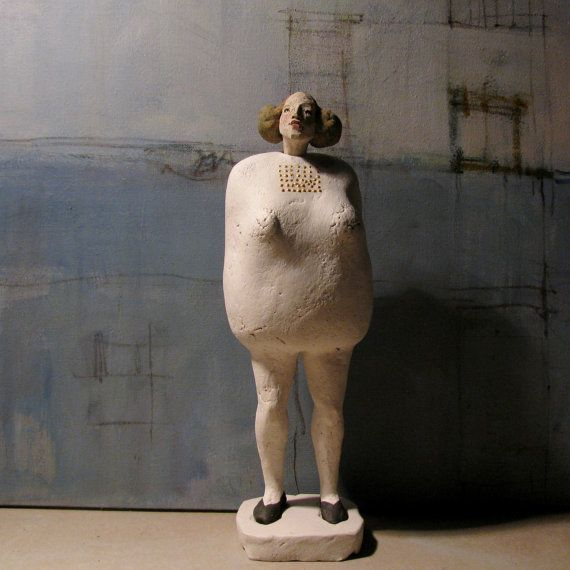 Small Woman With Gold/ Ceramic Sculpture/ by annakozlowskaluc