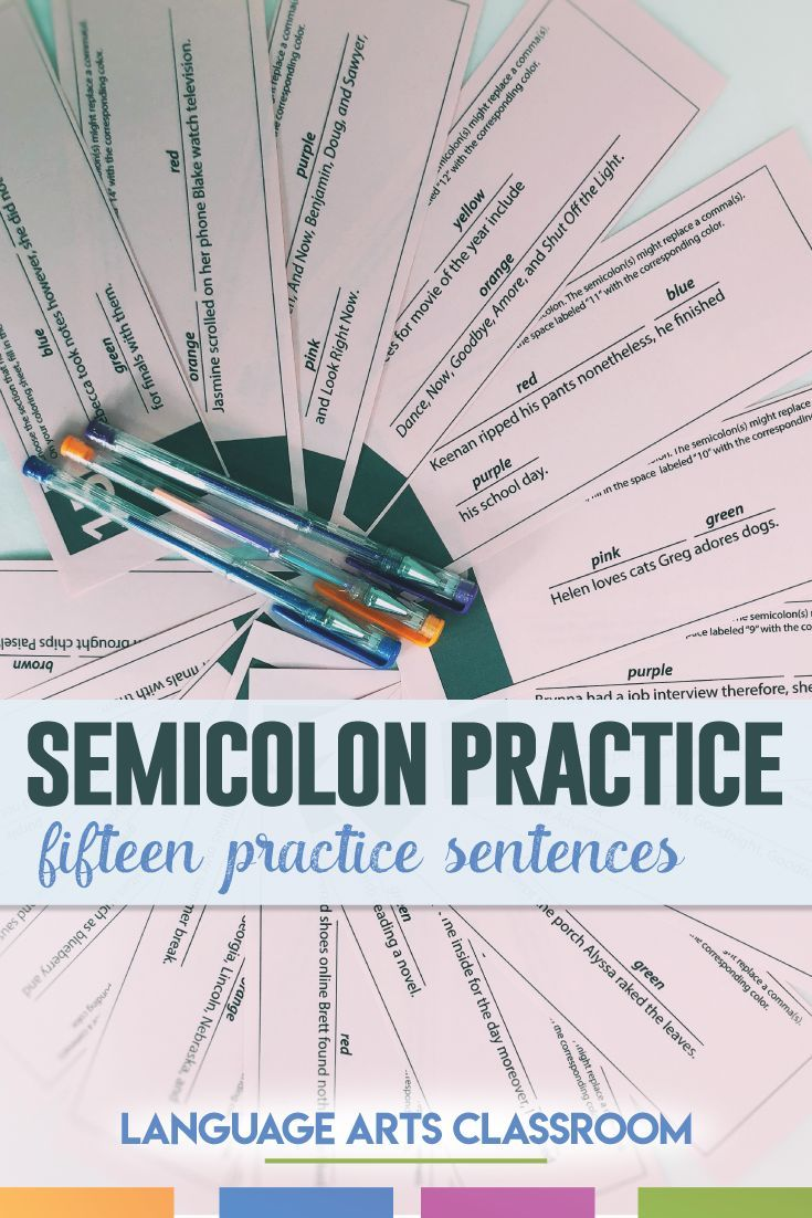 Study semicolons and their rules with this grammar activity. Students will locate where the semicolon should be and color the appropriate section.