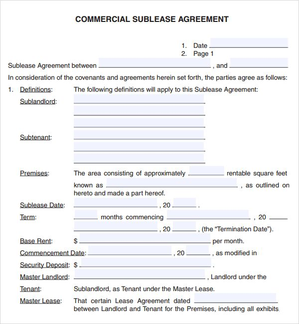 Free Commercial Lease Agreement Template Download Lease
