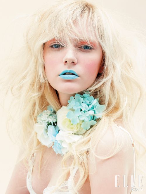 Feminine makeup looks inspired by floral bouquets featured in Elle Korea.