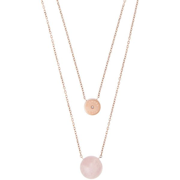 Michael Kors Rose Quartz Double-Chain Necklace (£87) ❤ liked on Polyvore featuring jewelry, necklaces, rose gold, charm pendant, rose necklace, statement necklace, pendant necklace and rose quartz jewelry