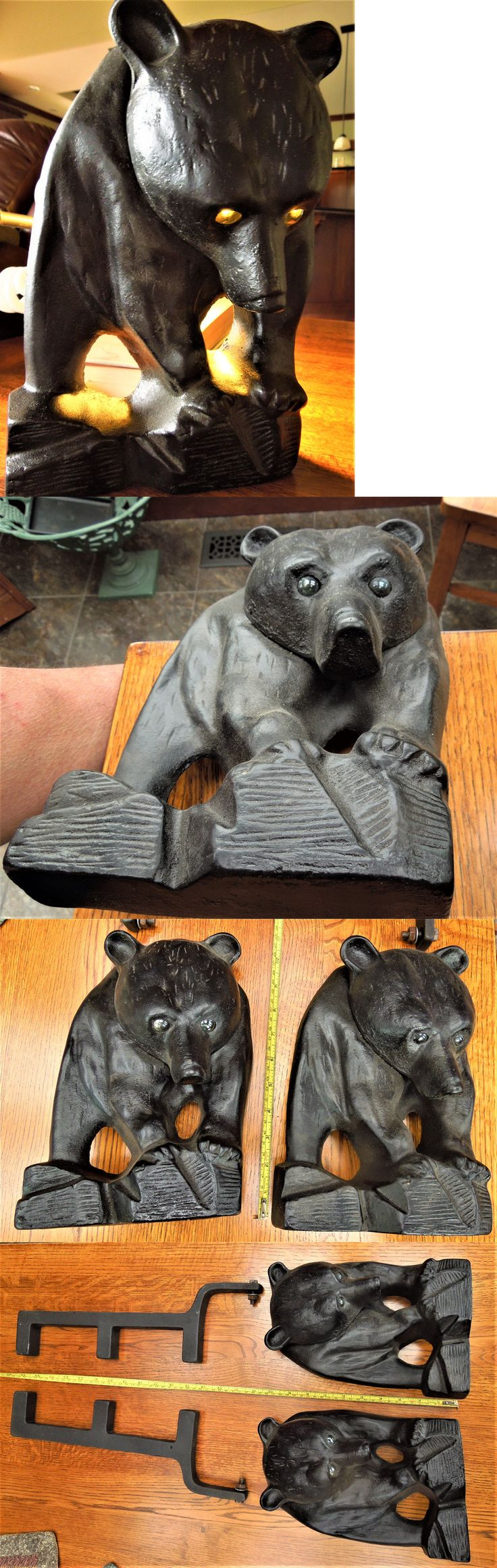 Andirons Grates and Firedogs 79648: Cast Iron Black Bear Fireplace Andirons Firedogs Fire Dog -> BUY IT NOW ONLY: $199.95 on eBay!