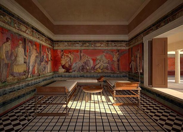 Digital reconstruction of the triclinium of the Villa of the Mysteries, Pompeii. Image copyright © 2011 and courtesy of James Stanton-Abbott