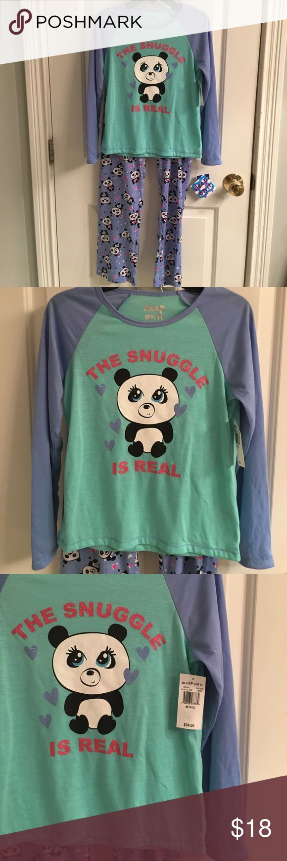 NWT-Sleep On It Two Piece Pajama Set NWT-Sleep On It blue and green two piece pajama set. Long sleeve shirt with The Snuggle Is Real, and a panda bear on the front. Crewneck. The bottoms have panda bears on them. Elastic waistband. Flame resistant. Size 10-12 medium. Excellent condition Sleep On It Pajamas Pajama Sets