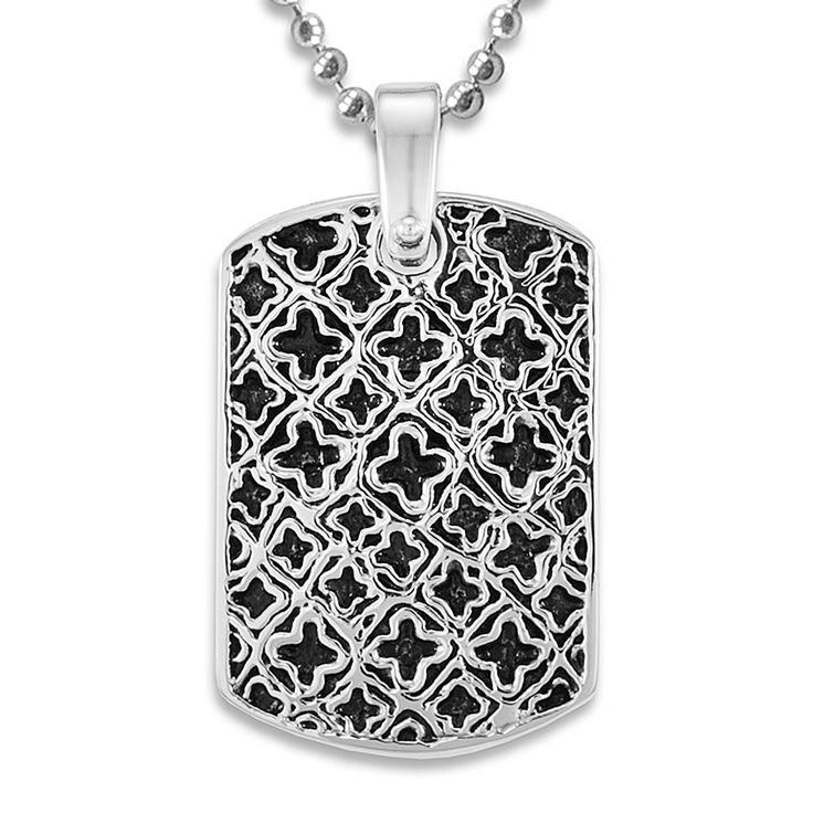 Stainless Steel Medieval Antiqued Dog Tag on a 24 Inch Chain This antiqued stainless steel dog tag features a strong medieval pattern. complemented by a ball chain with a lobster clasp, this dog tag measures 28 mm wide and 41 mm long.Price: $14.95Read More and Buy it here! http://ponderosa.co/szul/stainless-steel-medieval-antiqued-dog-tag-on-a-24-inch-chain/