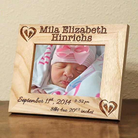 Personalized Birth Announcement Picture by CustomWoodEngravings