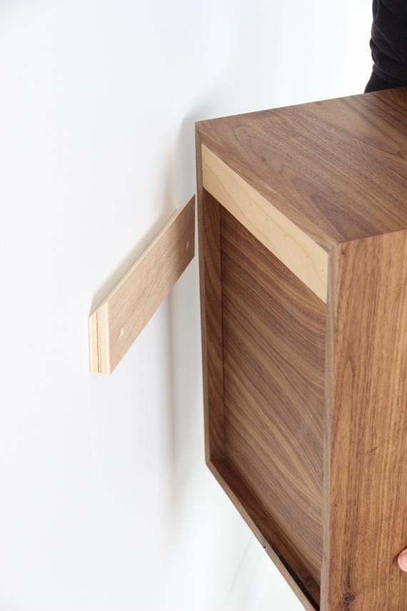 Narrow Floating Nightstand With 1 2 Or 3 Drawers In Walnut Mid