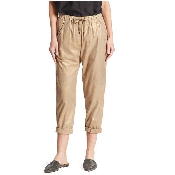 Brunello Cucinelli Leather Jogger Pants (€3.125) ❤ liked on Polyvore featuring pants, capris, cropped, gold, cropped capri pants, real leather pants, leather pants, cropped pants and genuine leather pants