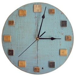 Light Blue Wall Clock with Vintage Wooden Rulers