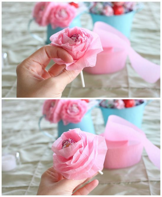 """DIY Lollipop Flowers step 5 Good for a """"Charlie and the Chocolate factory"""" party"""