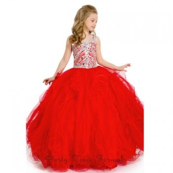 A beautiful pageant gown for your toddler or little girl by Party Time Formals. Long pageant ball gown with a sweetheart neckline, heavily beaded crystal bodice and straps. Full soft tulle skirt with ruffled overlays and zip up back. This gown will make h