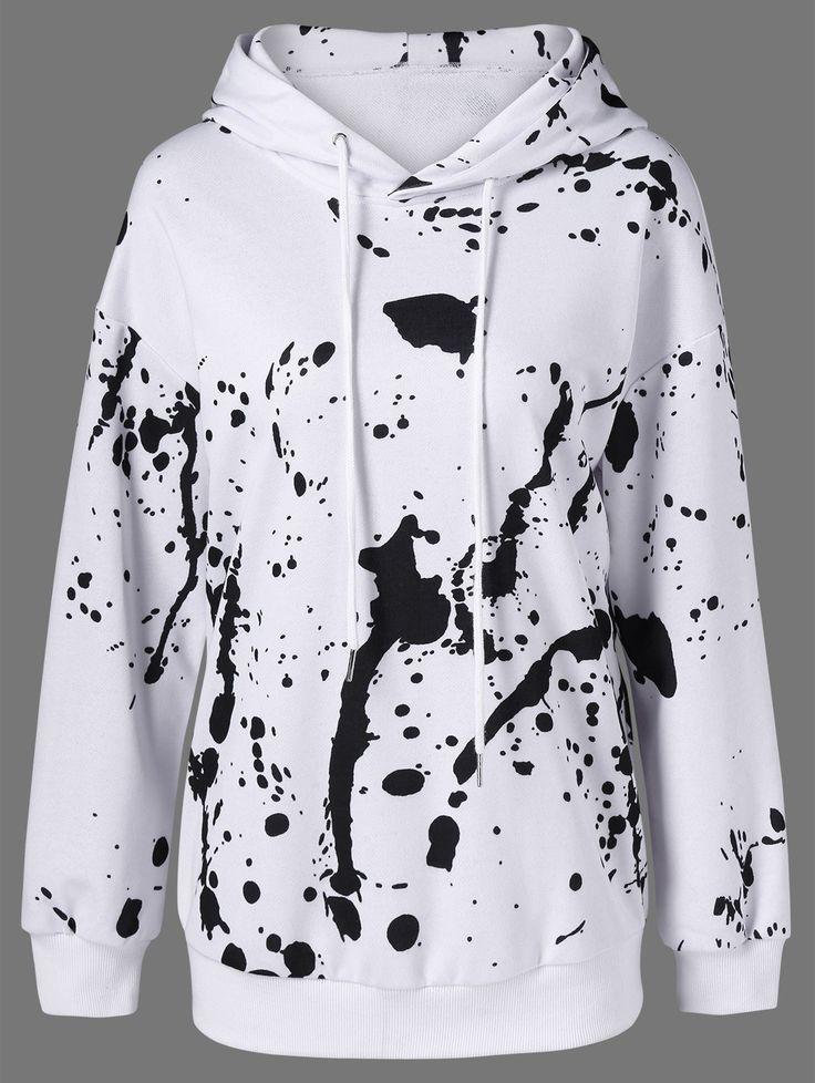 Splatter Paint Hoodie - WHITE AND BLACK L