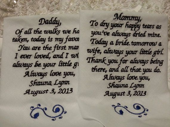 Dad Personalized Wedding Handkerchief. Gift for the Mother and Father ...