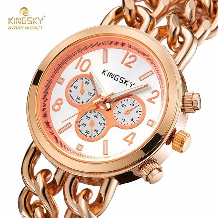 KINGSKY Watch Women New Arrival 2016 Ladies Quartz Wristwatch Steel Case Fashion Famous Brand Watches Analog Women Dress Watch-in Women's Watches from Watches on Aliexpress.com | Alibaba Group