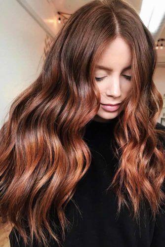 Auburn Haarfarbe Ideen und # 8211; Licht, Medium A…