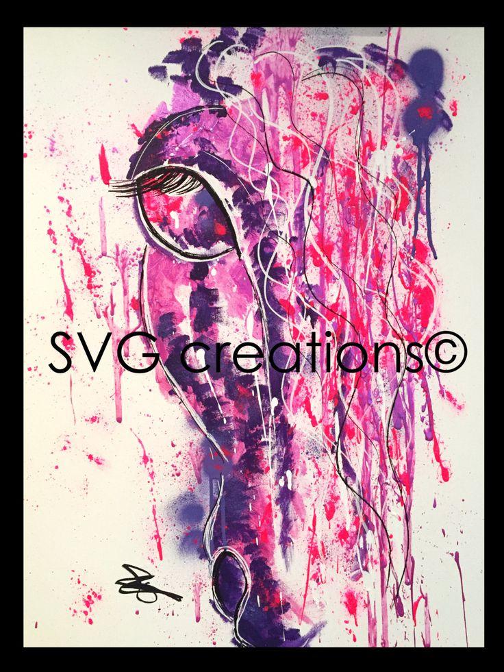 Cheval rose peinture moderne 24 x 30 sur toile acrylique / Horse pink modern painting on canvas 24 x 30 acrylic de la boutique SVGCreations13 sur Etsy