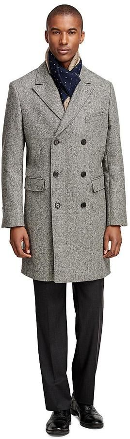 Brooks Brothers Double-Breasted Tic Topcoat