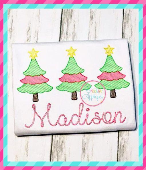 Sketch Scallop Christmas Tree Trio Embroidery With Images Christmas Embroidery Embroidery Christmas Designs
