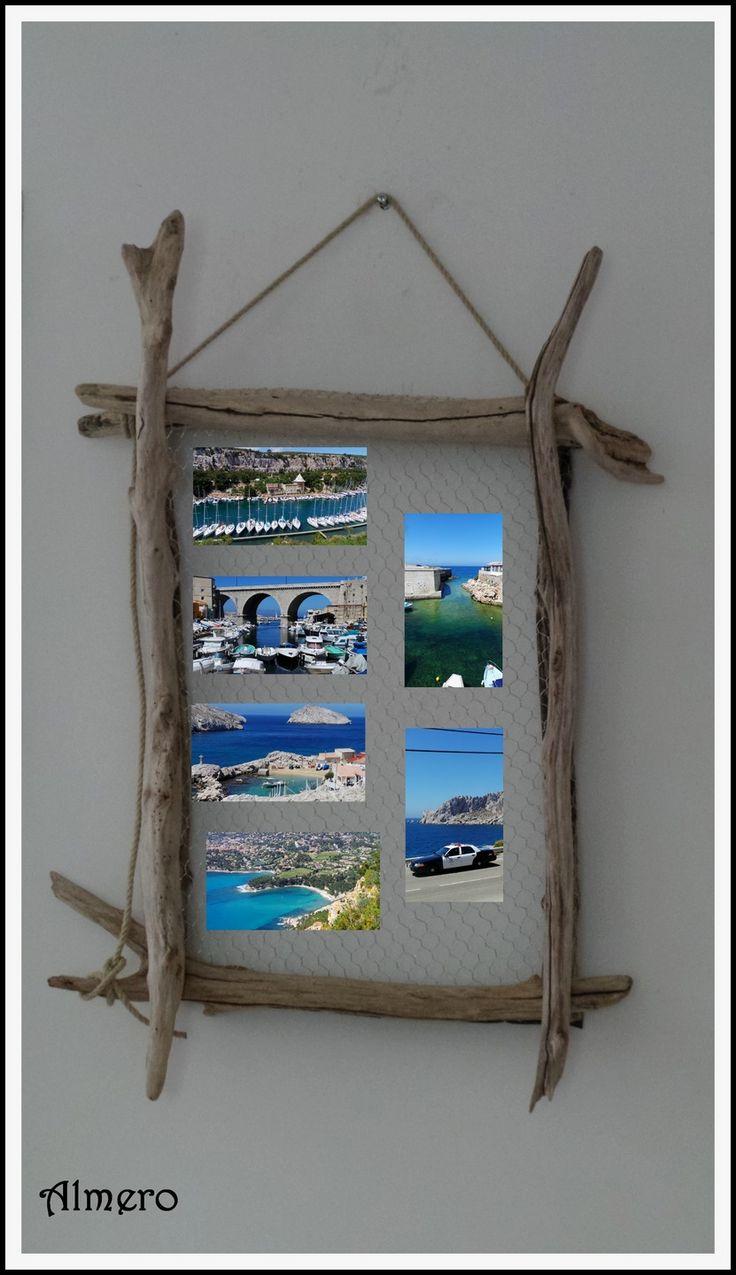 Cadre multi photos en bois flotté de Méditerranée. : Décorations murales par almero-creations
