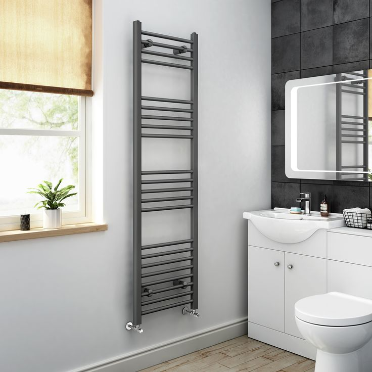 1600x450mm - Anthracite Heated Straight Rail Ladder Towel Radiator| BathEmpire