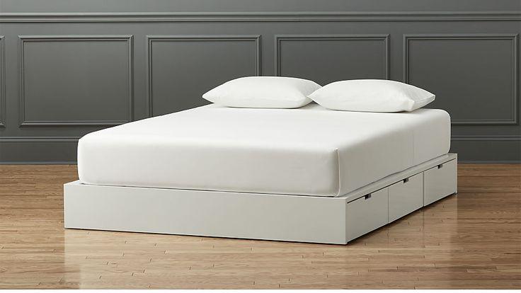 stowaway white queen bed | CB2