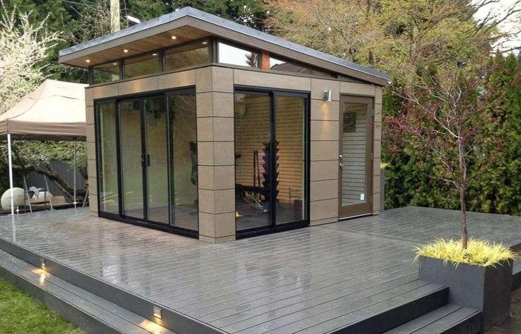 Exterior Sliding Glass Door On Modern Shed Design Ideas Feat Sloping Roof Feat Brown Outdoor