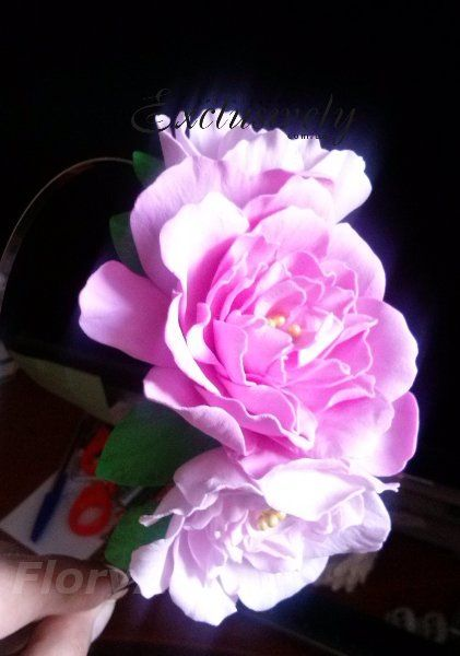 Ободок Розовые цветы. Фом