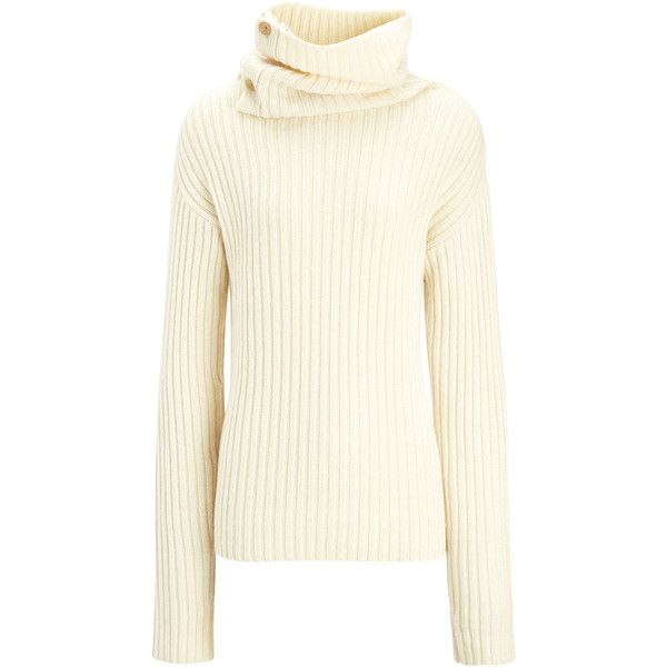 Joseph Military Knit High Neck Sweater (5.936.300 IDR) ❤ liked on Polyvore featuring tops, sweaters, ecru, knit top, button up sweater, military sweater, knit sweater and white knit sweater