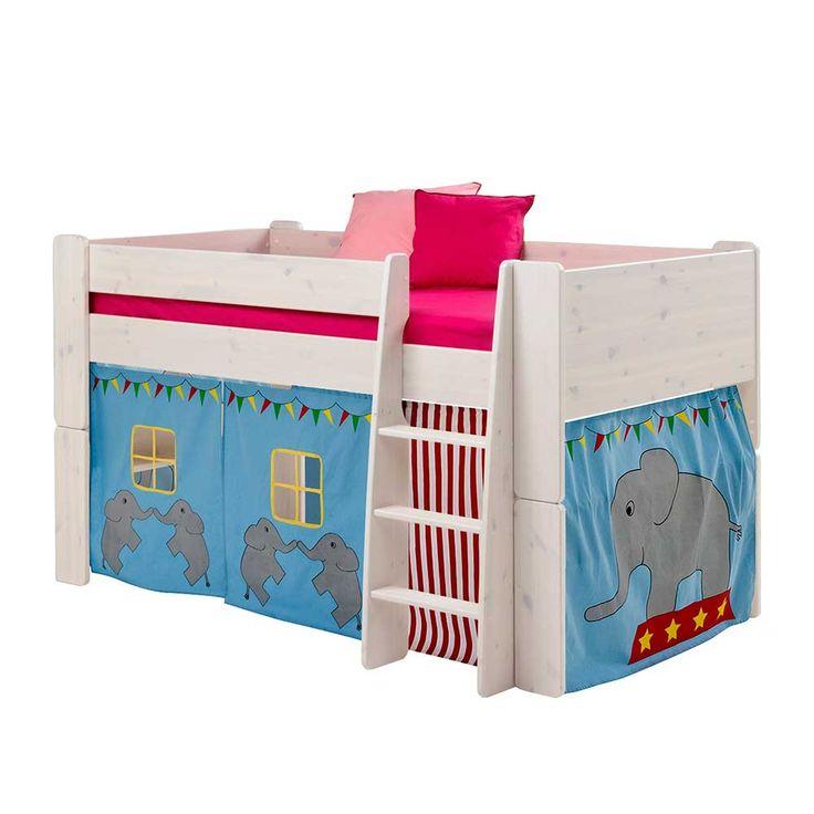 Halbhochbett mit Vorhang im Elefanten Design Weiß (2-teilig) Jetzt bestellen unter: https://moebel.ladendirekt.de/kinderzimmer/betten/hochbetten/?uid=83e350a3-b827-539c-8d3c-8470fbf818b4&utm_source=pinterest&utm_medium=pin&utm_campaign=boards #kinderzimmer #kinderhochbett #jugendhochbett #kinderbett #kind #hochbetten #kinderbettchen #hochbett #betten #hochbettgestell