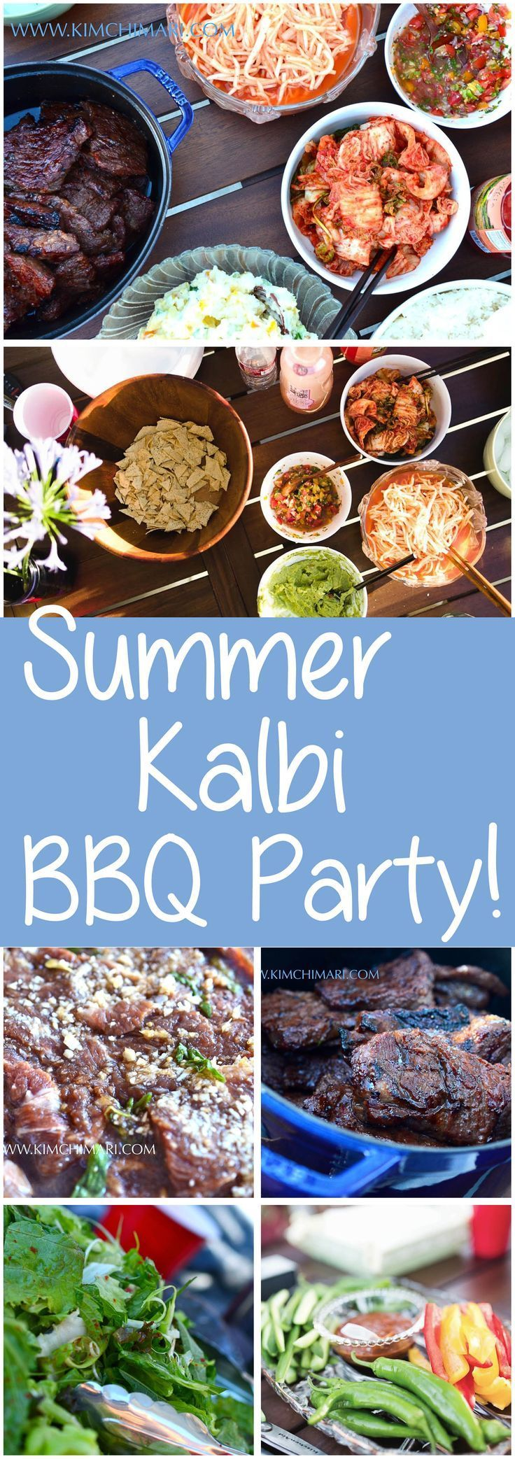 Have your own BEST Korean Summer BBQ Party! Follow tips and recipes for a wonderful feast of Kalbi and side dishes. Happy Summer!!  |  Kimchimari.com
