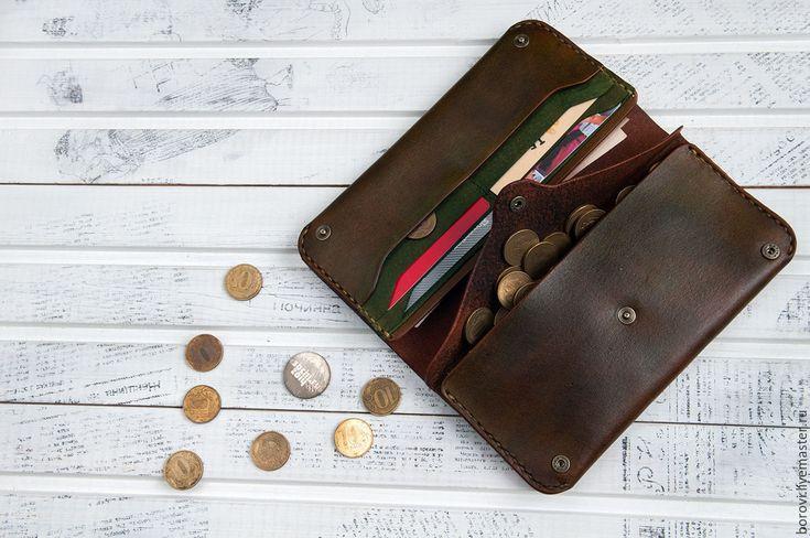 Купить кошелёк из натуральной кожи - коричневый, комбинированный, кошелек из кожи, кошелек ручной работы
