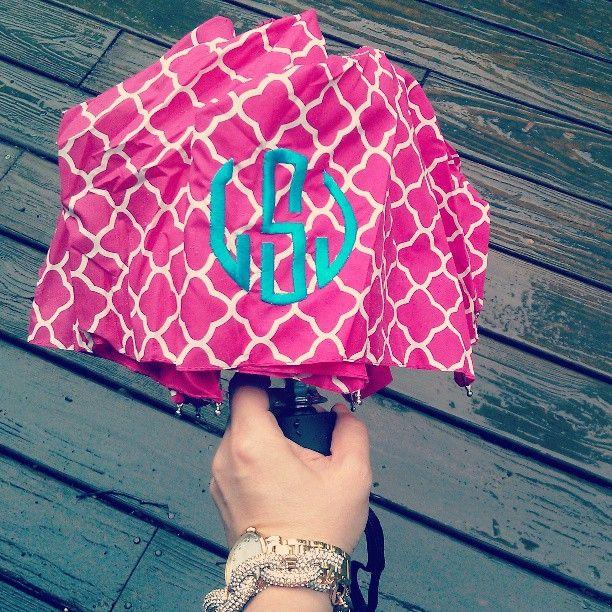 a rainy day calls for a bright monogram umbrella