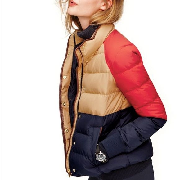 SALE J.Crew Alpine Puffer Jacket//Colorblock SOLD OUT Immediately in stores. Worn less than 5x, in perfect condition. Super soft and comfortable!    A puffer inspired by a '70s ski jacket—perfect for chilly days.   Down-filled poly. Standing collar. Zip closure. Welt pockets. Leather trim. Machine wash. Import. Cut for a boxy fit.  Hits at hip. J. Crew Jackets & Coats Puffers