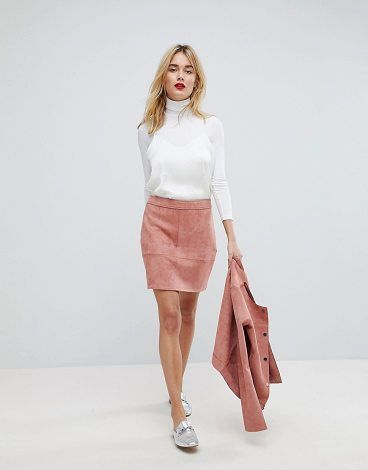 Faux Suede Mini Skirt by Vero Moda. Mini skirt by Vero Moda, Mid-rise waist, Size zip fastening, ,Regular cut, Fits you just right. Danish fashion house, Vero Moda, made their mark on the fashion scene by using top models Kate Moss and Gisele Bundchen in their marketing ca... #veromoda #skirts
