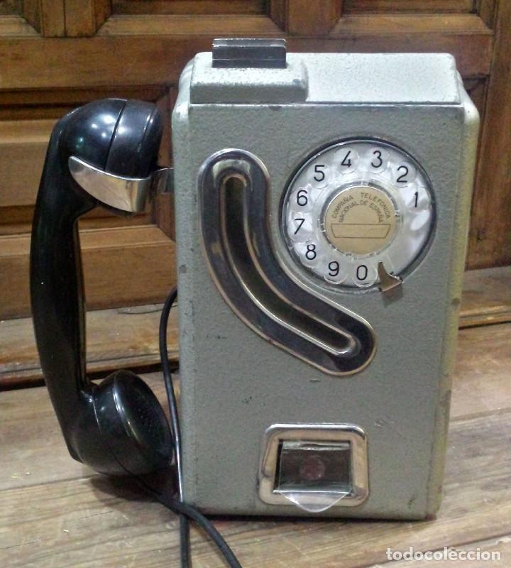 TELEFONO CABINA ANTIGUO ESPAÑA PESETAS FUNCIONA / TELEPHONE TELEFONICA VINTAGE SPAIN PESETAS * - Foto 1