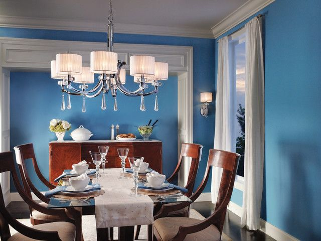 Bold Colors Transitional Furniture And Kichler Lighting Chandeliers Used In This Dinning Room