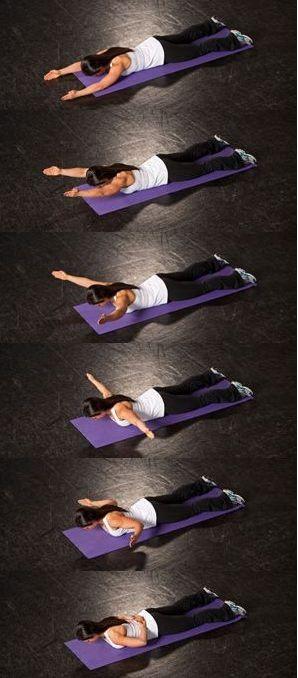 Trabalha na parte superior e inferior das costas, armadilhas, manguito rotador e todos os 3 músculos do ombro.