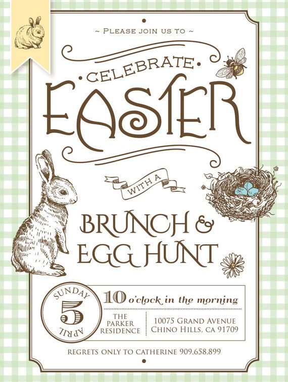 EASTER Invitation Printable file. Rustic Cottage Chic Country Style - Brunch and Egg Hunt. DIY Print or Email your own. #ad #easteregghunt #invitations #easter #etsyfinds