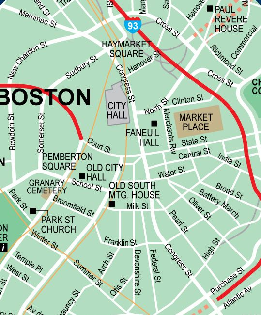 Downtown Boston MA Maps Attractions Street Location