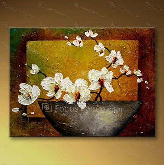 """Hand-painted Flower Oil Painting with Stretched Frame-16"""" x 20"""" - Focus Vogue"""