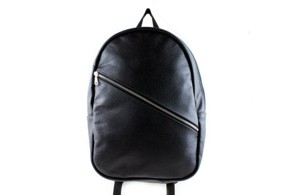 Black leather backpack with padded laptop sleeve by WELDONBAGS