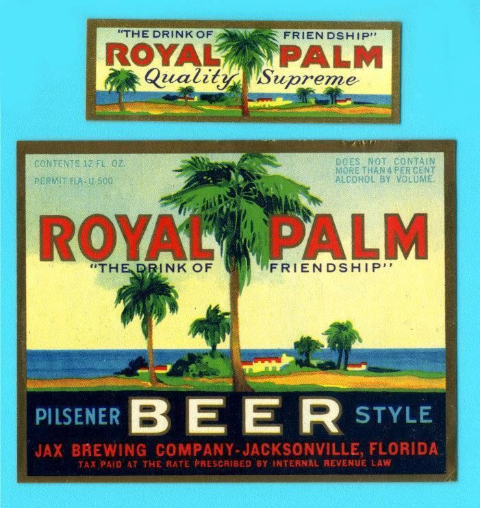 Jacksonville, FL - Jax Royal Palm Beer label #2 IRTP Permit FLA-U-500 --1933 era