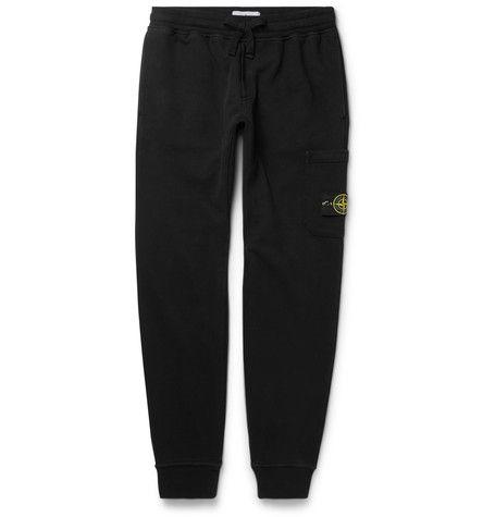 STONE ISLAND Slim-Fit Tapered Fleece-Back Cotton-Jersey Sweatpants. #stoneisland #cloth #sweats